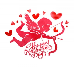51641831 - flying cupid with bow and arrow in hand on a white background. vector illustration